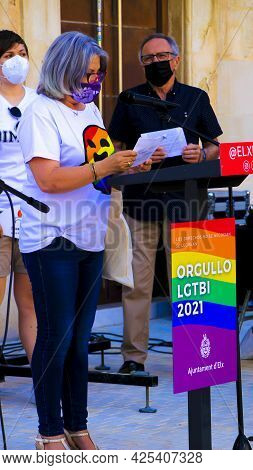 Elche, Spain- June 28, 2018:politician Reading The Manifest Of The Proclamation Of The Gay Pride Day