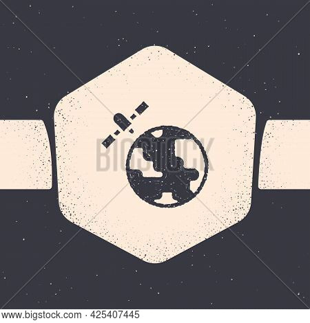 Grunge Artificial Satellites Orbiting The Planet Earth In Outer Space Icon Isolated On Grey Backgrou