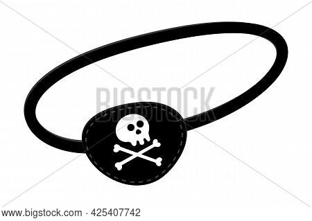 Pirate Eye Patch Icon Sign Flat Style Design Vector Illustration Isolated On White Background. Black