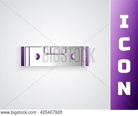 Paper Cut Construction Bubble Level Icon Isolated On Grey Background. Waterpas, Measuring Instrument