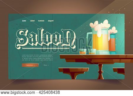 Cowboy Saloon Cartoon Landing Page, Glass Tankards With Foamy Beer And Shots With Alcohol Drinks Sta