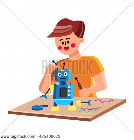 Child Building Or Repairing Mechanic Robot Vector. Boy Kid Construct With Screwdriver And Coding Ele