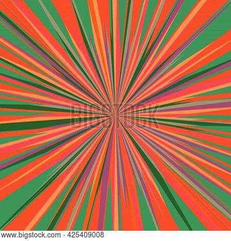 Pop Art Radial Colorful Comics Book Magazine Cover. Striped Red And Green Digital Background. Cartoo