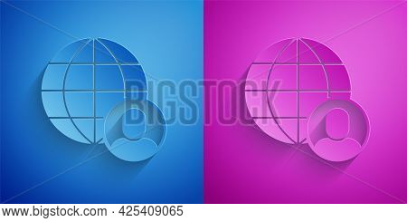 Paper Cut Freelancer Icon Isolated On Blue And Purple Background. Freelancer Man Working On Laptop A