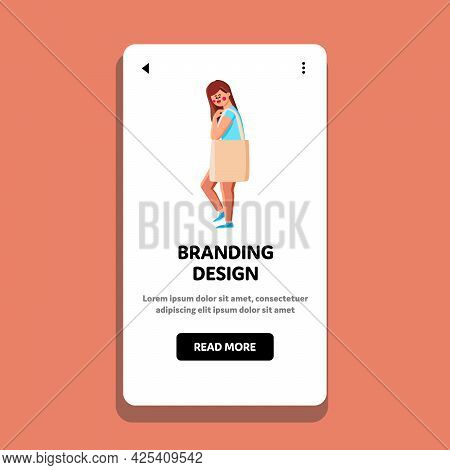 Branding Design Clothing Wearing Woman Vector. Attractive Girl In Fashion Dress Walk With Glamor Bra