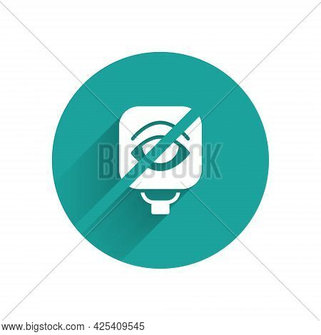White Blindness Icon Isolated With Long Shadow. Blind Sign. Green Circle Button. Vector