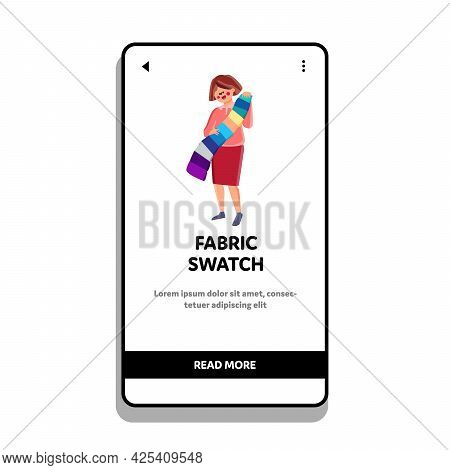 Fabric Swatch Holding Client Woman In Shop Vector. Young Girl Customer Choose Color On Fabric Swatch