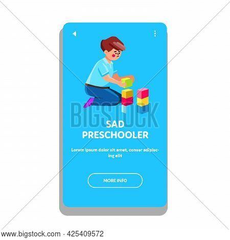 Sad Preschooler Boy Playing With Blocks Toy Vector. Sad Preschooler Child Building Tower With Multic