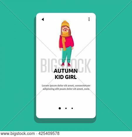 Autumn Kid Girl Wearing Seasonal Clothes Vector. Smiling Daughter Wear Autumn Season Warm Sweater An
