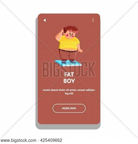 Confused Fat Boy Standing On Digital Scale Vector. Sad Fat Boy Staying On Electronic Device For Meas