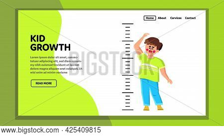 Kid Growth And Measuring Height With Scale Vector. Happiness Boy Checking Growth With Measurement Ru