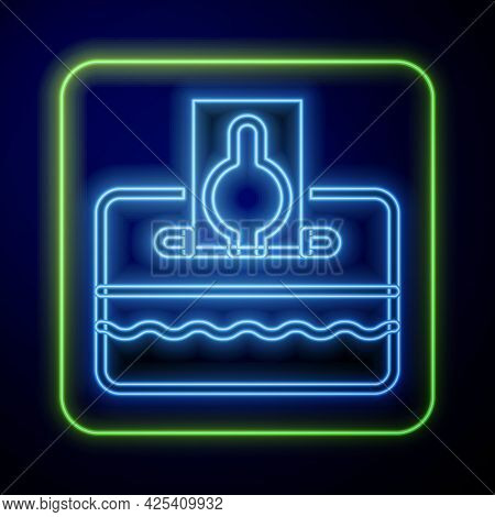 Glowing Neon Donate Or Pay Your Zakat As Muslim Obligatory Icon Isolated On Blue Background. Muslim