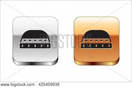 Black Muslim Hat For Prayer Icon Isolated On White Background. Islamic Religious Hat. Silver And Gol