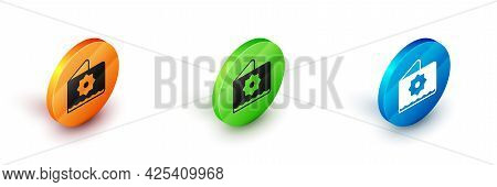 Isometric Islamic Octagonal Star Ornament Icon Isolated On White Background. Circle Button. Vector
