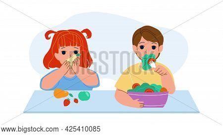 Children Eat Vitamin Fruits And Vegetables Vector. Little Girl Eating Delicious Ripe Apple, Strawber