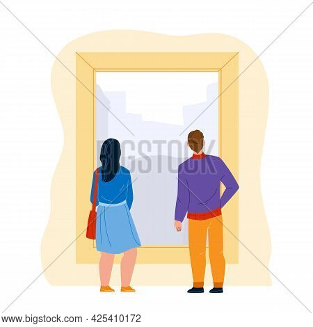People Looking At Picture Artwork In Museum Vector. Man And Woman Couple Look Together At Exhibit In