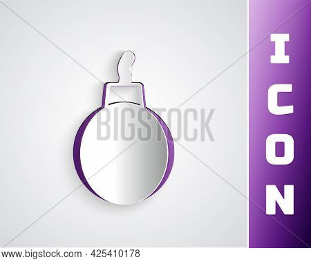 Paper Cut Bomb Ready To Explode Icon Isolated On Grey Background. Paper Art Style. Vector