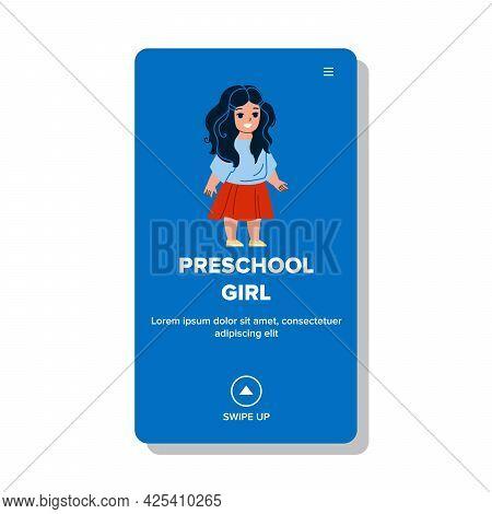 Preschool Girl Wearing Stylish Clothes Vector. Little Happy Preschool Girl Kid In Fashion Clothing S