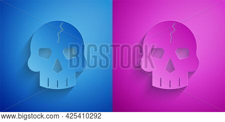 Paper Cut Skull Icon Isolated On Blue And Purple Background. Pirate Captain. Happy Halloween Party.