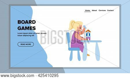 Board Games Playing Girl In Kindergarten Vector. Small Child Play Education Board Game At Table. Cha