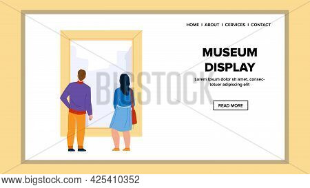 Museum Display Looking Man And Woman Couple Vector. Young Boy And Girl Togetherness Look At Museum D