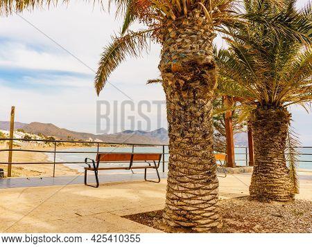 Isla Plana Town, Promenade Walking Area On Sea Shore, Mazarron Murcia Spain. Tourist Place.