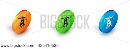 Isometric Oil Pump Or Pump Jack Icon Isolated On White Background. Oil Rig. Circle Button. Vector