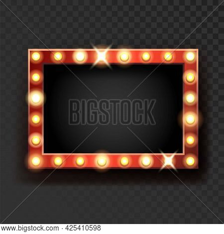 Broadway Sign With Lighting Lamps On Frame Vector. Blank Broadway Advertising Banner With Glowing Li