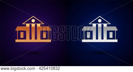 Gold And Silver White House Icon Isolated On Black Background. Washington Dc. Vector