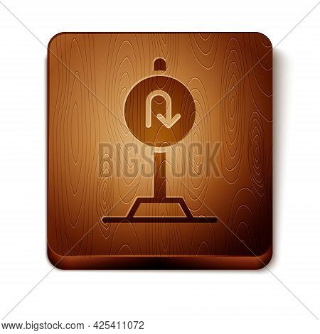 Brown Turn Back Road Icon Isolated On White Background. Traffic Rules And Safe Driving. Wooden Squar