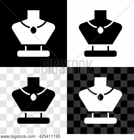 Set Necklace On Mannequin Icon Isolated On Black And White, Transparent Background. Vector