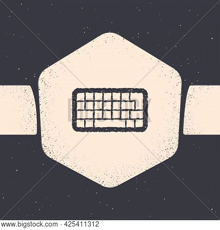 Grunge Computer Keyboard Icon Isolated On Grey Background. Pc Component Sign. Monochrome Vintage Dra