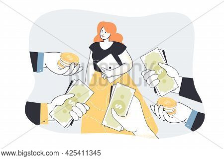 Demanded Talented Specialist Receiving Cash And Offers. Flat Vector Illustration. People Hiring Woma