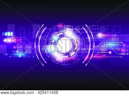 Abstract Hi-tech Background. Futuristic Interface And Glowing Hud Circle. Virtual Reality Technology