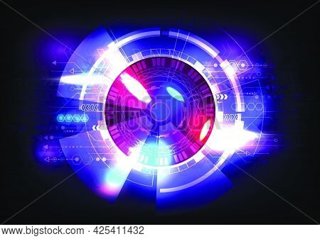 Abstract hi-tech glowing HUD background. Futuristic interface. Virtual reality technology screen