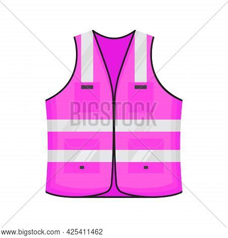 Safety Reflective Vest Icon Sign Flat Style Design Vector Illustration. Pink Colored Fluorescent Sec