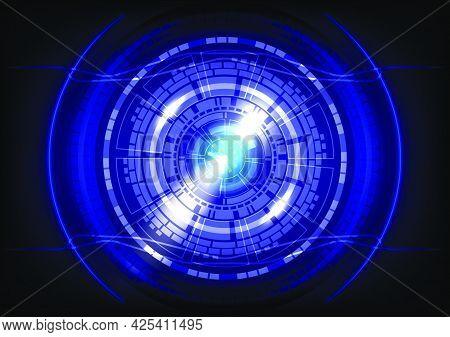 Blue Light Neon. Abstract Hi-tech Background. Futuristic Interface. Virtual Reality Technology Scree