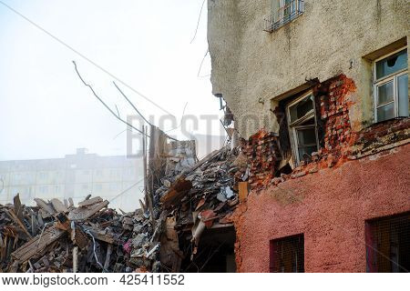 Collapsed And Destroyed Concrete Industrial Building Isolated On White Background. Disaster Scene Fu