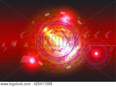 Red Light Neon. Abstract Hi-tech Background. Futuristic Interface. Virtual Reality Technology Screen