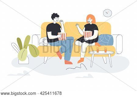 Young Family Couple Watching Tv Together. Flat Vector Illustration. Man And Woman Sitting On Couch T