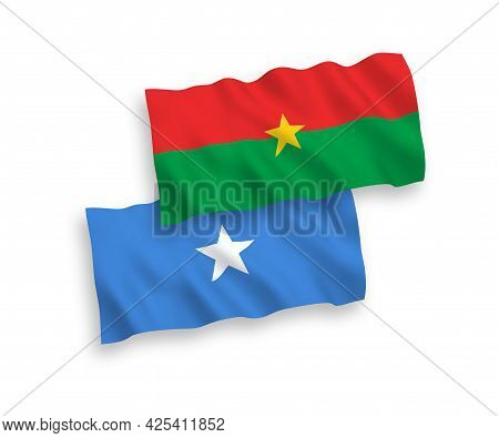National Fabric Wave Flags Of Burkina Faso And Somalia Isolated On White Background. 1 To 2 Proporti