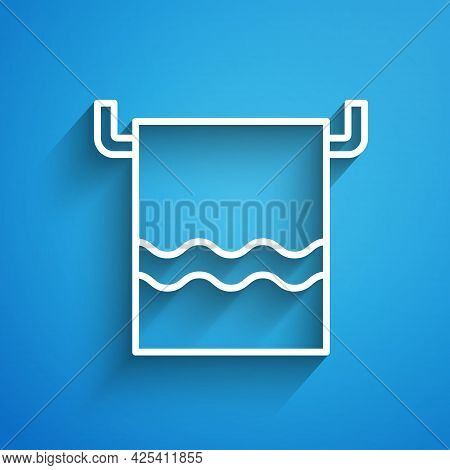 White Line Towel On A Hanger Icon Isolated On Blue Background. Bathroom Towel Icon. Long Shadow. Vec