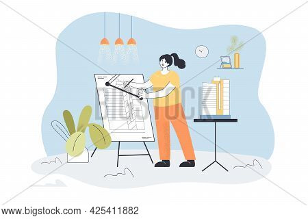 Woman Architect Designing Building At Home. Flat Vector Illustration. Designer Or Engineer Working A