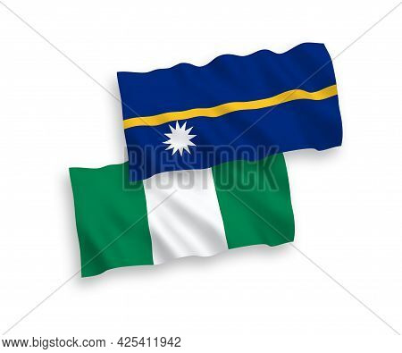 National Fabric Wave Flags Of Republic Of Nauru And Nigeria Isolated On White Background. 1 To 2 Pro