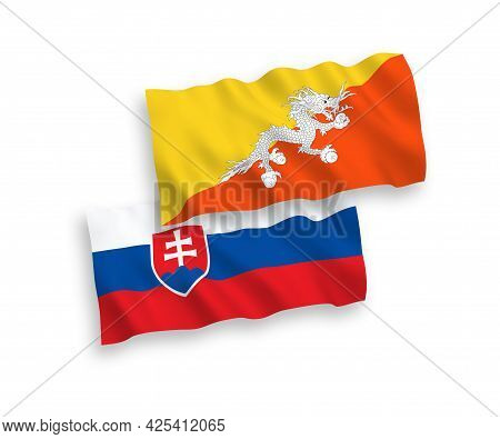 National Fabric Wave Flags Of Slovakia And Kingdom Of Bhutan Isolated On White Background. 1 To 2 Pr