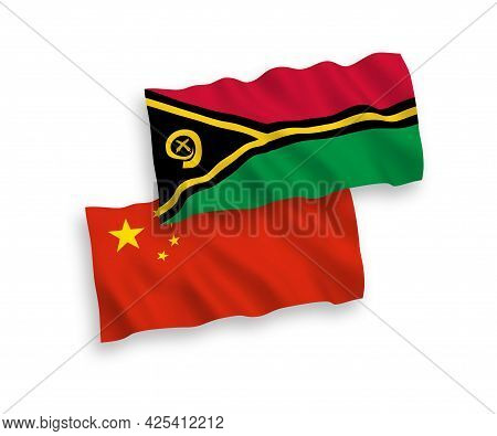 National Fabric Wave Flags Of Republic Of Vanuatu And China Isolated On White Background 1 To 2 Prop