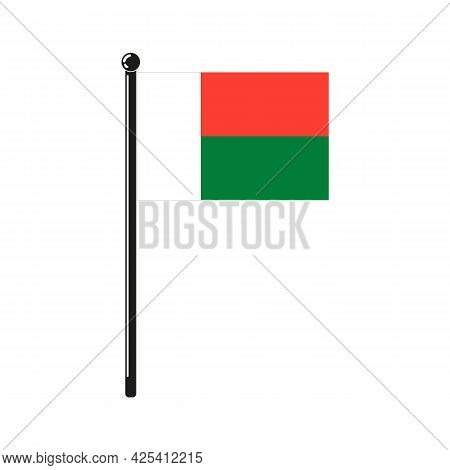 National Flag Of Republic Of Madagascar In The Original Colours And On The Stick