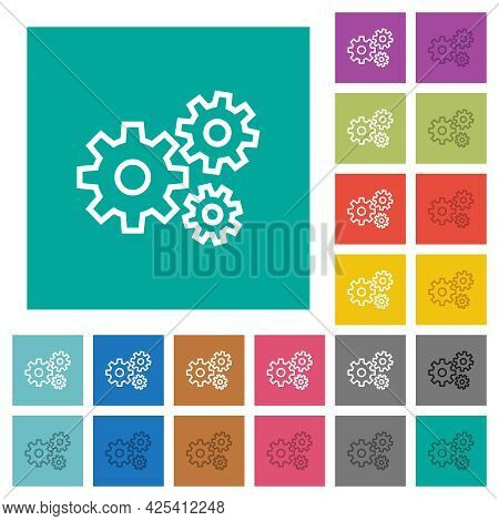 Gears Multi Colored Flat Icons On Plain Square Backgrounds. Included White And Darker Icon Variation