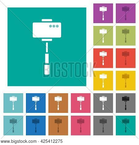 Smartphone On Selfie Stick Back View Multi Colored Flat Icons On Plain Square Backgrounds. Included