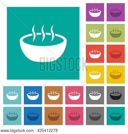 Steaming Bowl Multi Colored Flat Icons On Plain Square Backgrounds. Included White And Darker Icon V